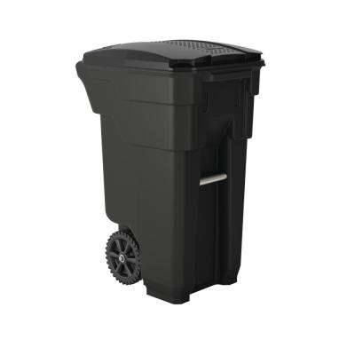 32 Gal. Gray Plastic Curbside Commercial Trash Can with Wheels And Attached Lid
