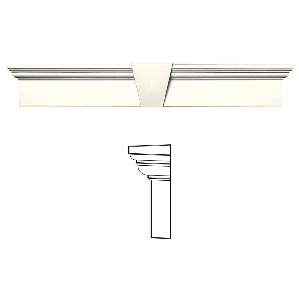 6 in. x 37-5/8 in. Flat Panel Window Header with Keystone