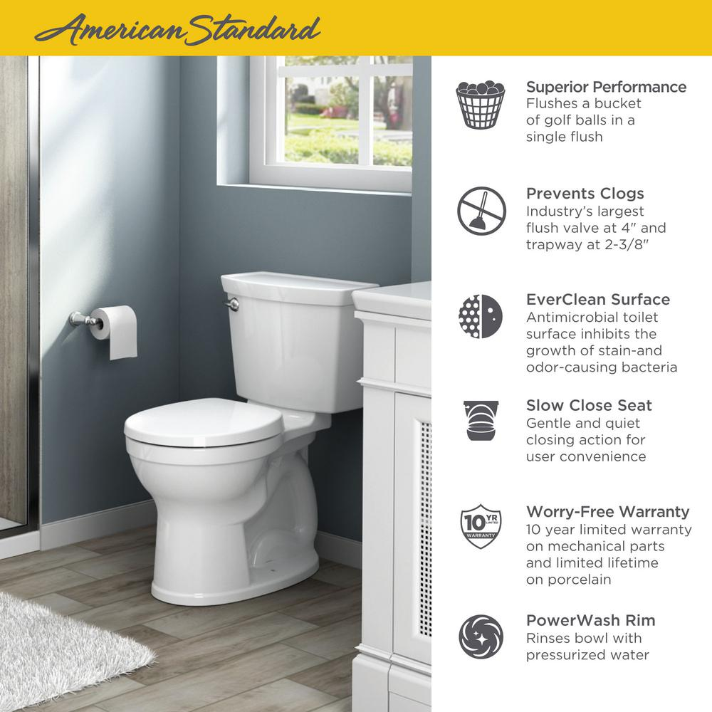Astonishing American Standard Champion 4 Max Tall Height 2 Piece 1 28 Gpf Single Flush Round Front Toilet With Slow Close Seat In White Evergreenethics Interior Chair Design Evergreenethicsorg