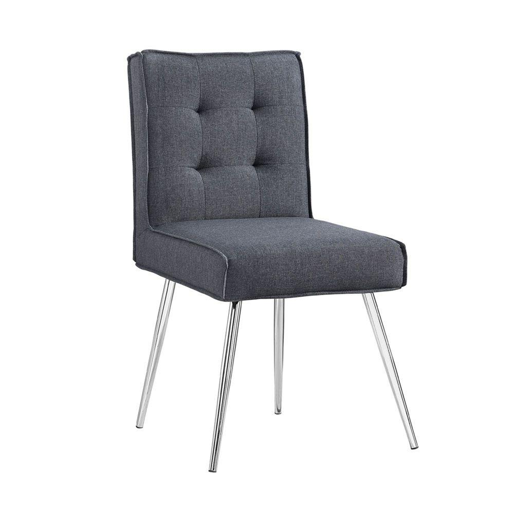linon home decor astra dark gray polyester side chair (set of ). linon home decor astra dark gray polyester side chair (set of