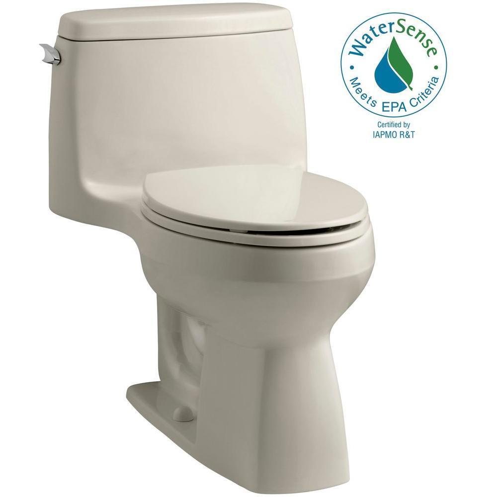KOHLER Santa Rosa Comfort Height 1-piece 1.28 GPF Single Flush Compact Elongated Toilet with AquaPiston Flush in Sandbar