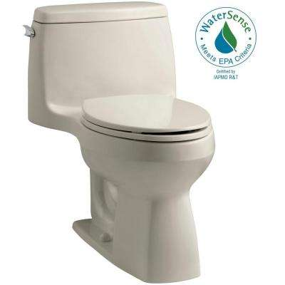 Santa Rosa Comfort Height 1-piece 1.28 GPF Single Flush Compact Elongated Toilet with AquaPiston Flush in Sandbar