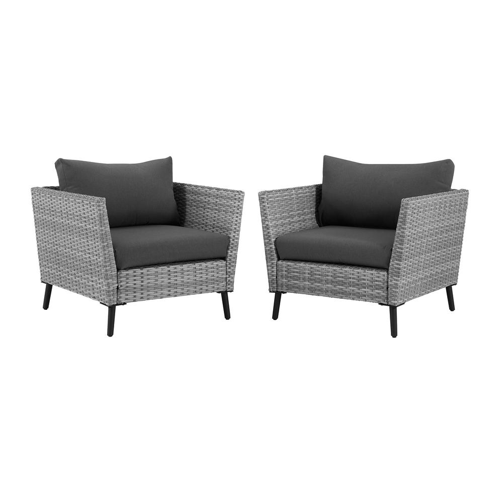 Richland Wicker Outdoor Lounge Chair with Grey Cushions