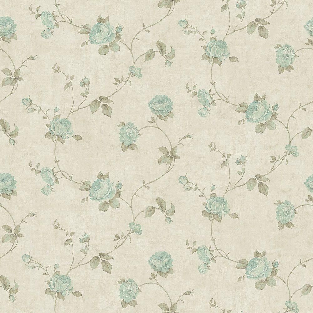 Chesapeake Darby Aqua Rose Trail Wallpaper Sample Ccb02151sam