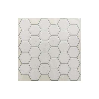 10.5 in. x 10.5 in. White Hexagon Peel and Stick Tiles (4-Pack)