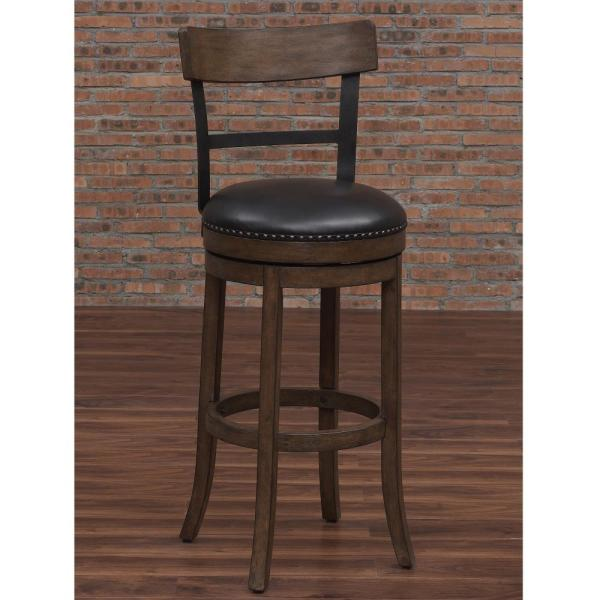 American Woodcrafters Taranto 26 in. Washed Brown Swivel Counter Stool