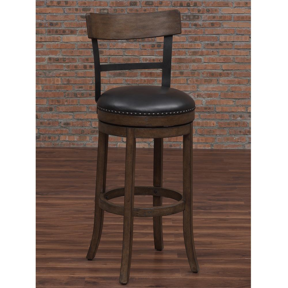 American Woodcrafters Taranto 34 In Washed Brown Swivel Tall Bar