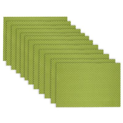19 in. x 13 in. Reversible Indoor Outdoor Tonal Placemats Green PVC and Polyester Blend (Set of 12)