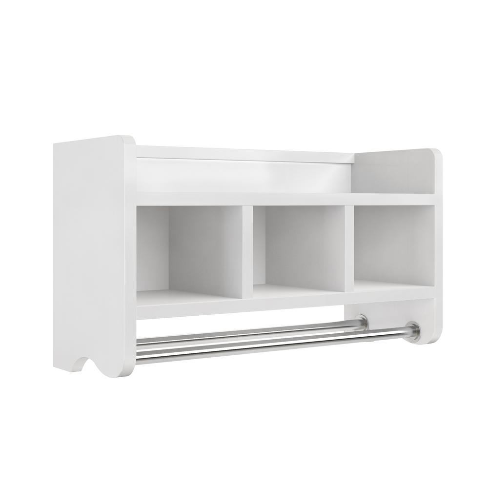W Bath Storage Shelf With Towel Rod In White