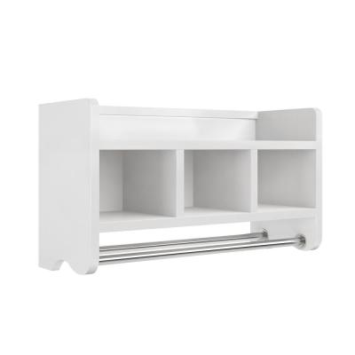 25 in. W Bath Storage Shelf with Towel Rod in White