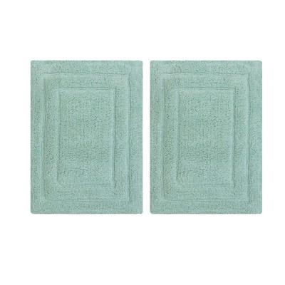 Classic Mint Green Rectangular 40 in.L x 24 in.W Cotton Bath Rug (Set of 2)