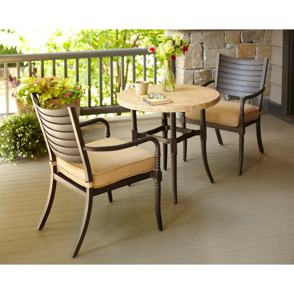Hampton Bay Madison 3-Piece Patio Bistro Set with Textured Golden Wheat Cushions-DISCONTINUED