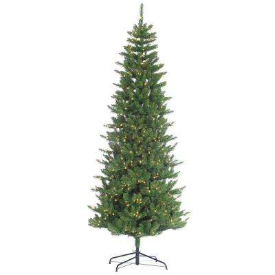 9 ft. Pre-Lit Narrow Augusta Pine Artificial Christmas Tree with Clear Lights