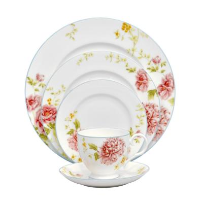 Peony Pageant 5-Piece Bone China Dinnerware Set