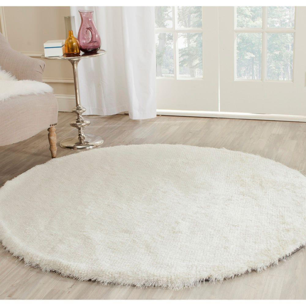 Safavieh Paris Shag Ivory 5 Ft X 5 Ft Round Area Rug
