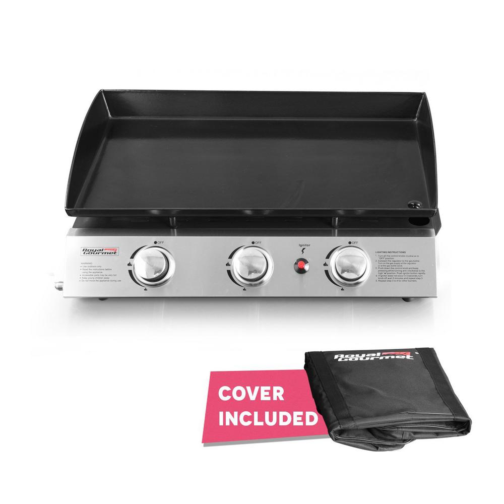 Royal Gourmet 316 sq. in. 3 Burner Propane Gas Grill Cooking Griddles in Stainless-Steel and Black with Griddle Top PD1300