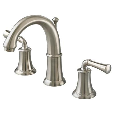 Portsmouth 8 in. Widespread 2-Handle Mid-Arc Bathroom Faucet with Metal Lever Handles in Brushed Nickel