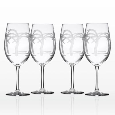 Palm Tree 18 oz. Clear All Purpose Wine (Set of 4)
