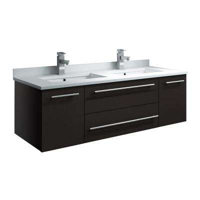 Lucera 48 in. W Wall Hung Bath Vanity in Espresso with Quartz Stone Double Sink Vanity Top in White with White Basins