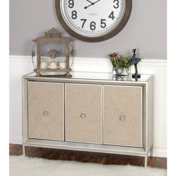 Litton Lane 47 in. x 32 in. Metallic Silver Gray Metal Cabinet with Mirror Top and Linen-Covered Shelves
