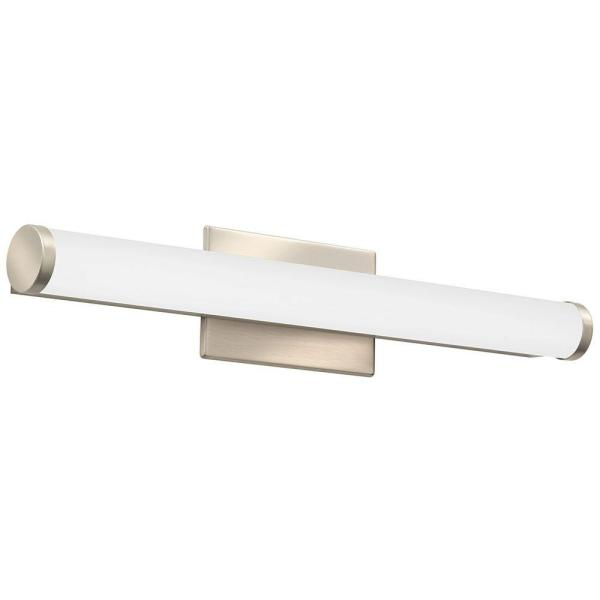 Contemporary Cylinder 2-Light Brushed Nickel 3K LED Vanity Light