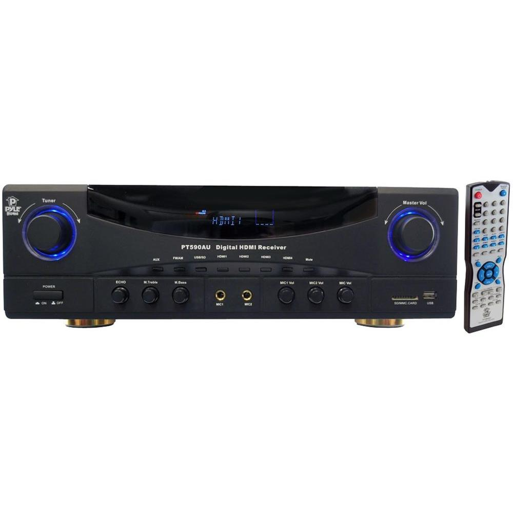Pyle 5.1 Channel 350 Watts Built-In AM/FM Radio/USB/SD Card HDMI Amplifier Receiver with 3D Pass-Thru-DISCONTINUED