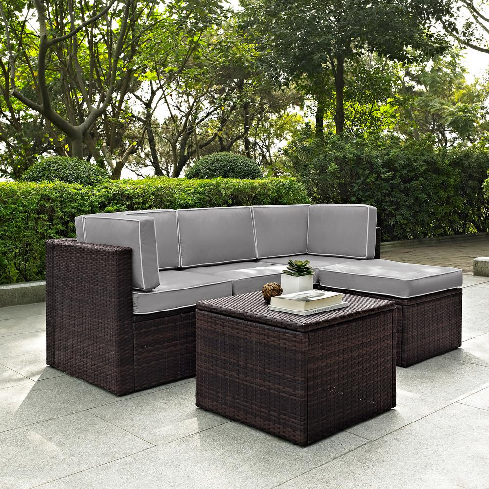 Pleasant Crosley Palm Harbor 5 Piece Wicker Outdoor Sectional Set With Grey Cushions Caraccident5 Cool Chair Designs And Ideas Caraccident5Info