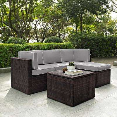 Palm Harbor 5-Piece Wicker Outdoor Sectional Set with Grey Cushions