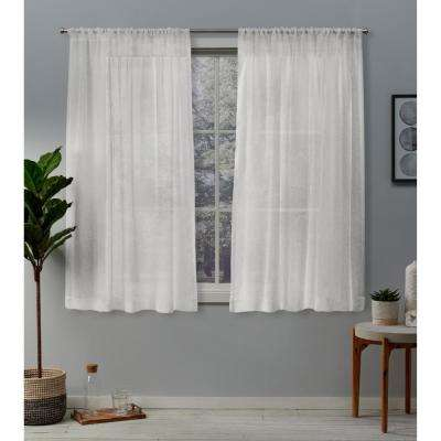 Belgian 50 in. W x 63 in. L Sheer Rod Pocket Top Curtain Panel in Snowflake (2 Panels)