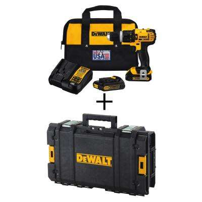 20-Volt MAX Lithium-Ion Compact Hammer Drill/Driver Kit with (2) Batteries, Charger, Bag and Bonus ToughSystem Tool Box