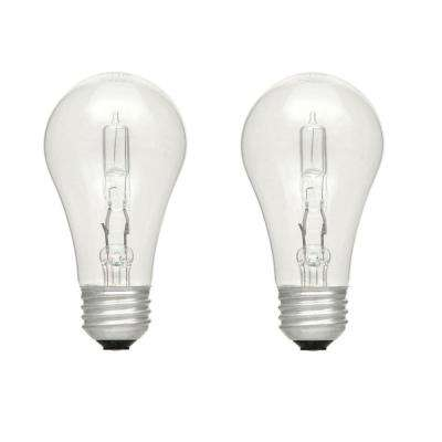 60-Watt Equivalent A19 Dimmable Clear Eco-Incandescent Light Bulb Soft White (2-Pack)
