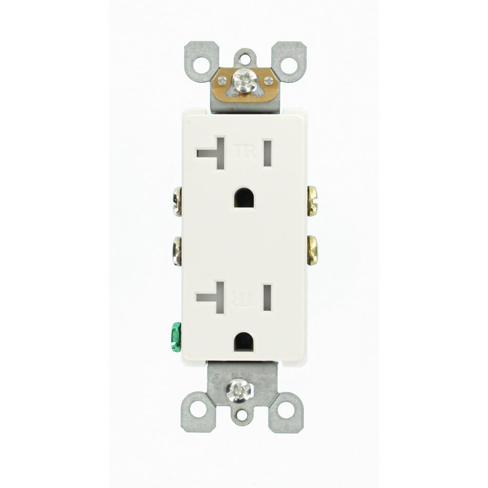 Leviton Decora 20 Amp Ultrasonic Tamper Resistant Duplex Outlet  White-r52-t5825-00w