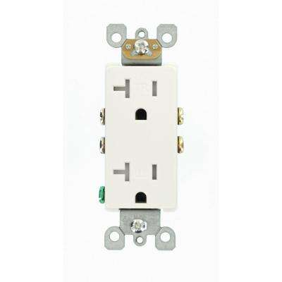 Decora 20 Amp Ultrasonic Tamper Resistant Duplex Outlet, White