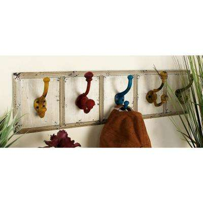 24 in. x 7 in. Farmhouse Wood and Iron Wall Hook