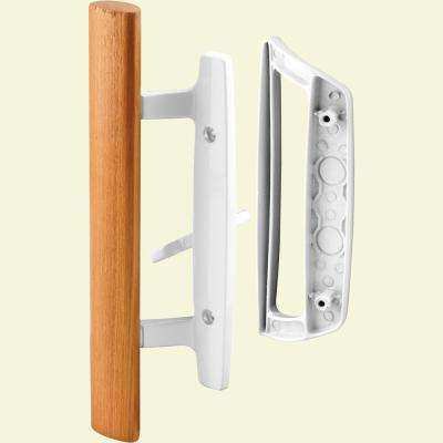 Sliding Glass Door Handle Set, 3-15/16 in., Diecast, White, Mortise/Hook Style