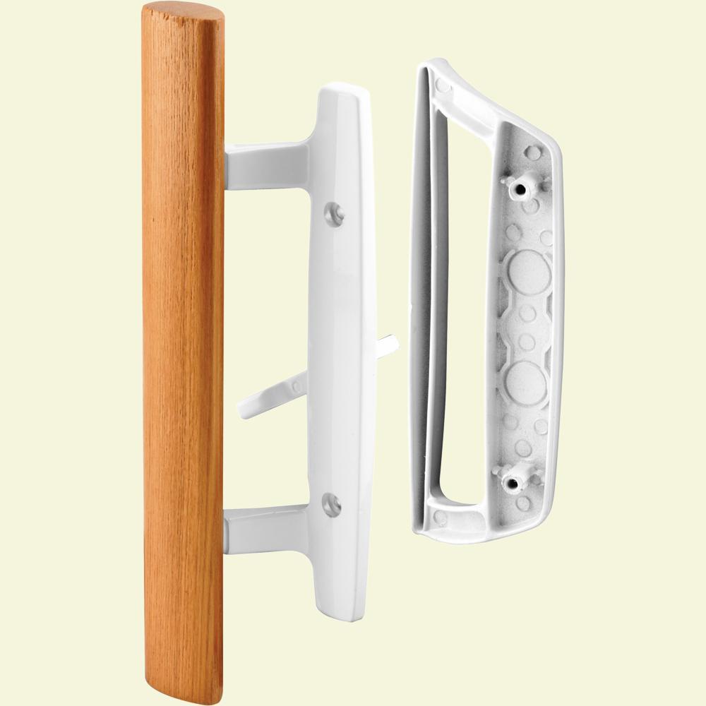 Prime Line Diecast With Wood Handle White Patio Door