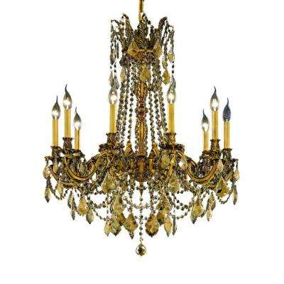 10-Light French Gold Chandelier with Teak Smoky Crystal