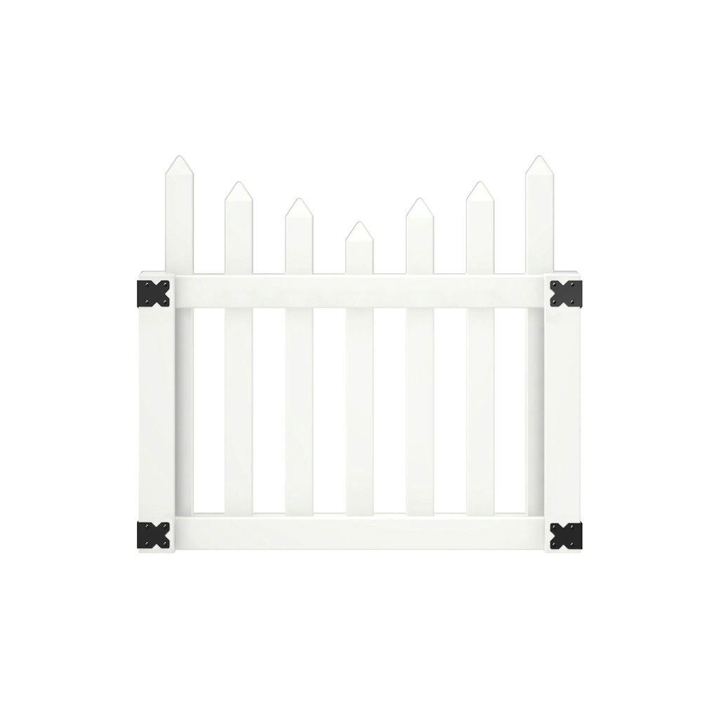 Veranda Pro Series 4 ft. W x 3.5 ft. H White Vinyl Westchester Scalloped Spaced Picket Fence Gate