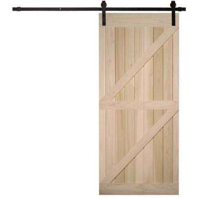 40 in. x 87 in. Timber Hill Double Z Unassembled Unfinished Poplar Wood Barn Door Kit with Sliding Door Hardware Kit