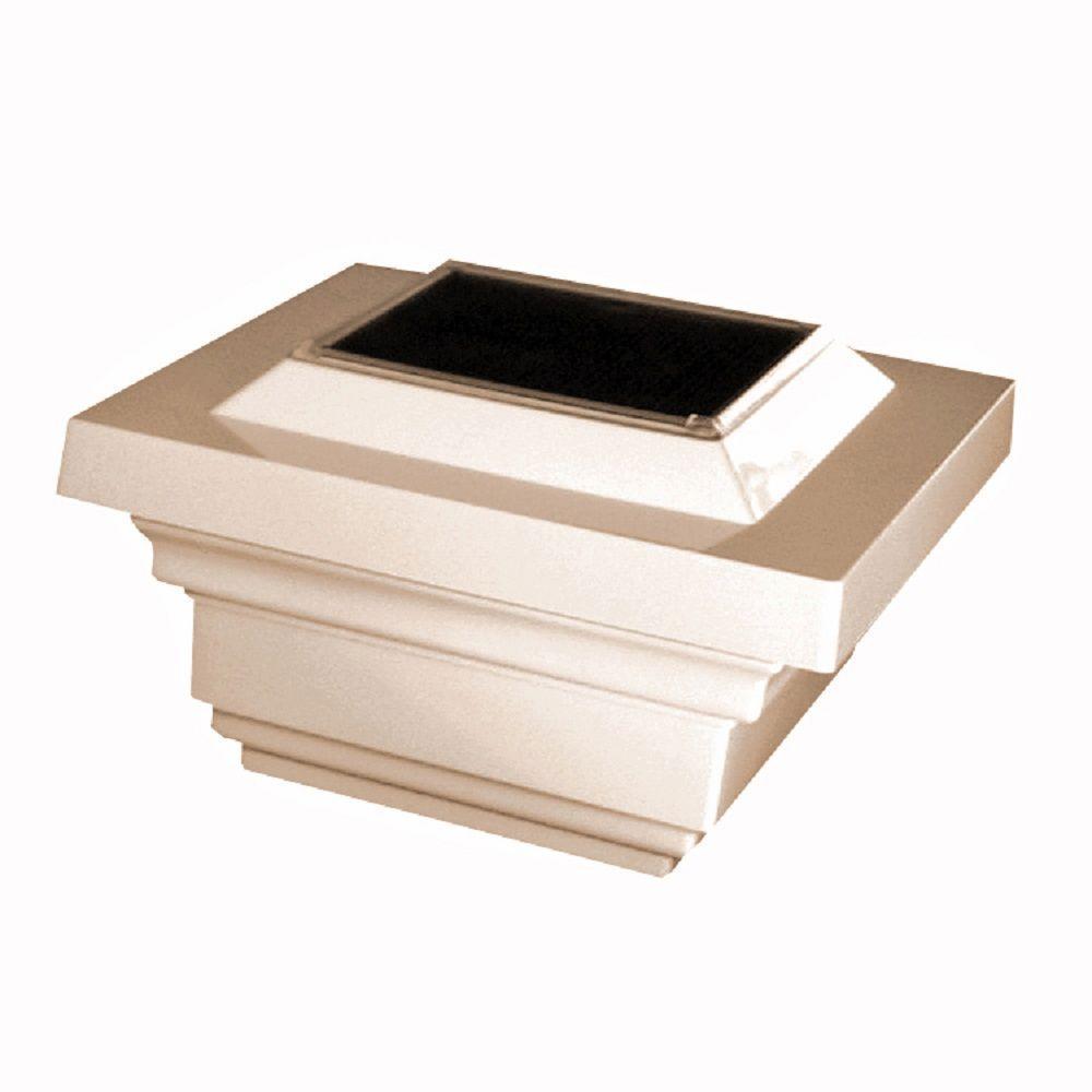 4 in. x 4 in. Tan PVC Outdoor Regal Solar Post Cap (2-Pack)