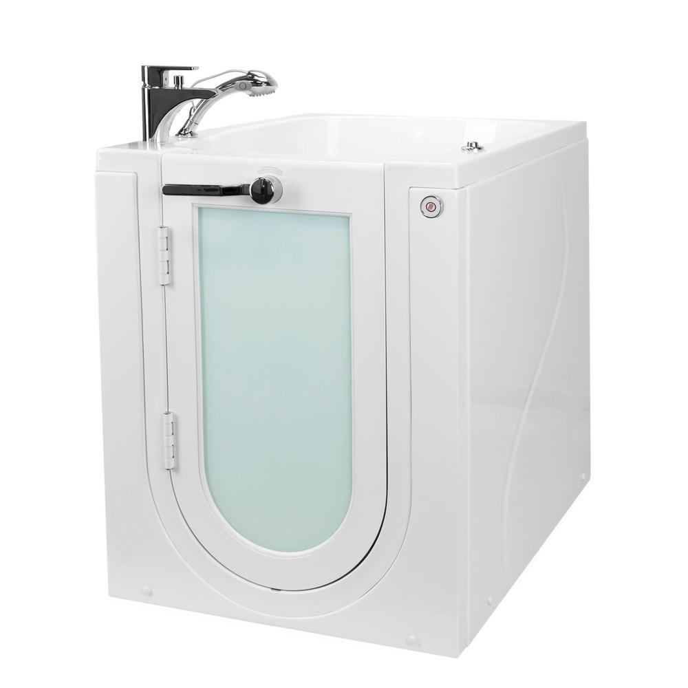 Ella Front Entry 32 in. Walk-In Micro Bubble Air Bathtub in White, LH Outward Door Fast Fill Faucet, Heated Seat, 2 in. Drain