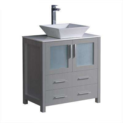 Torino 30 in. Bath Vanity in Gray with Glass Stone Vanity Top in White with White Vessel Sink