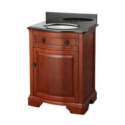 W Bath Vanity In Mahogany With Granite Top Black