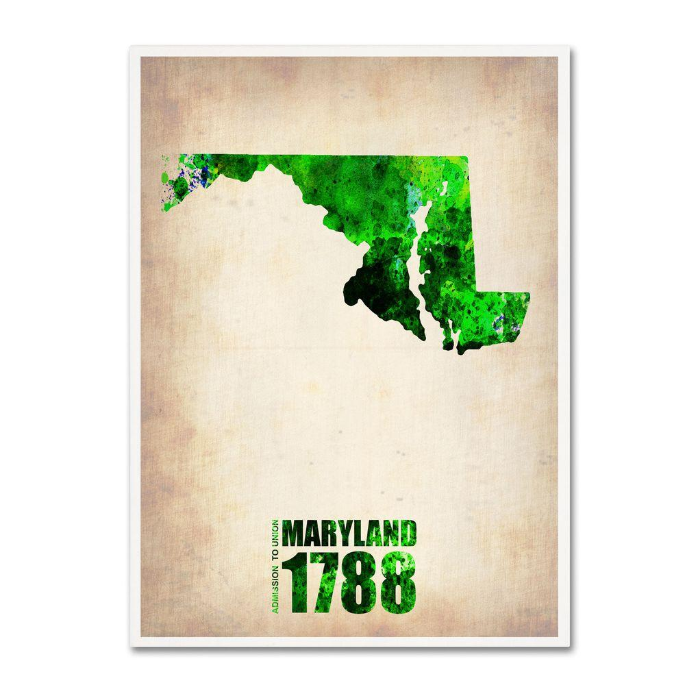 32 in. x 24 in. Maryland Watercolor Map Canvas Art