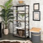 "64"" Industrial 4-Shelf Wood Bookcase - Grey Wash"