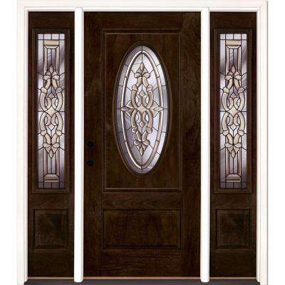 63.5 in.x81.625in.Silverdale Patina 3/4 Oval Lt Stained Chestnut Mahogany Rt-Hd Fiberglass Prehung Front Door w Sidelite