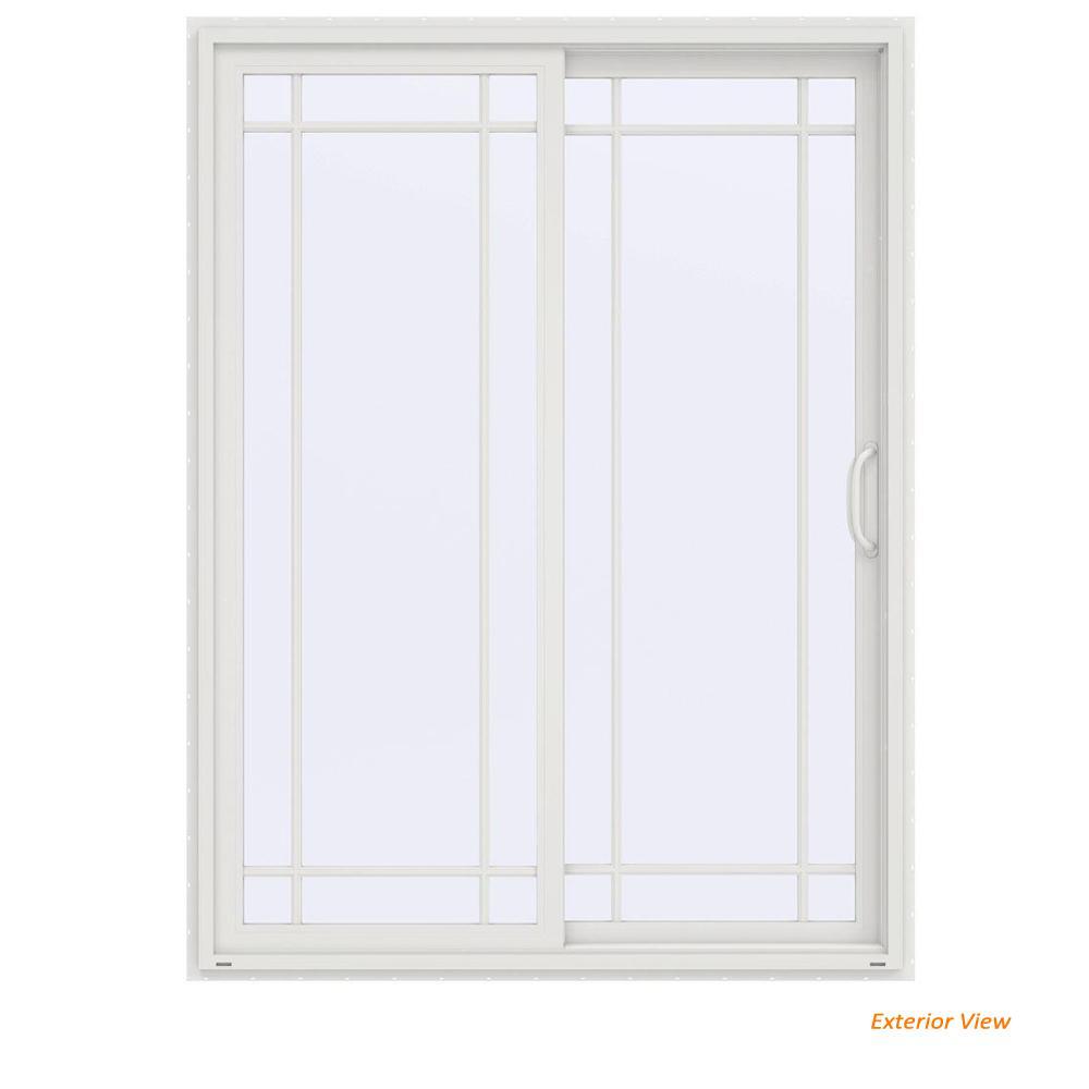 60 in. x 80 in. V-4500 Contemporary White Vinyl Right-Hand 9 Lite Sliding Patio Door