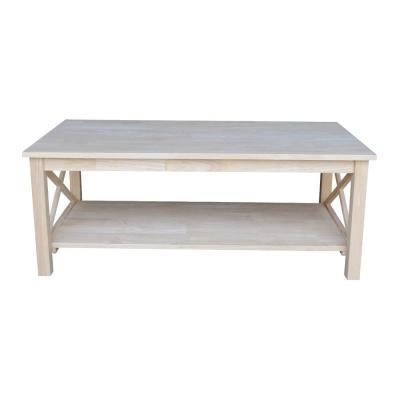 Hampton 46 in. Unfinished Large Rectangle Wood Coffee Table
