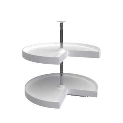 2-Shelf 28 in. White Polymer Pie-Cut Lazy Susan
