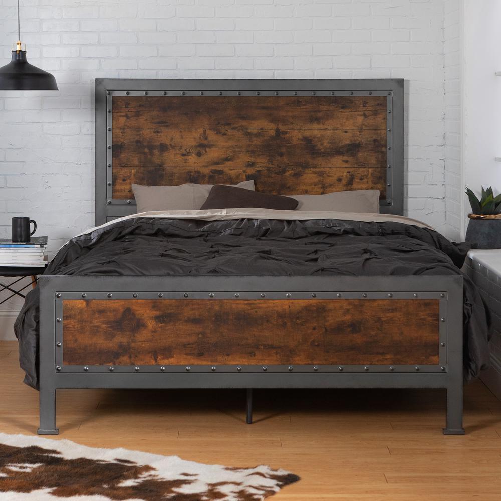 Walker Edison Furniture Company Queen Size Rustic Brown ...